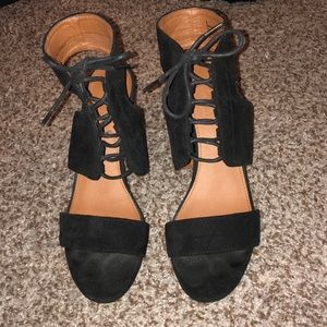 Black Suede Lace Up Heel! Lower Heel! Worn Once! 9